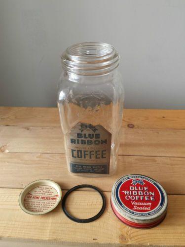 Rare Vintage Blue Ribbon Coffee 1lb Glass Jar W Label Lid Sealer Insert Cap 85 00 Glass Jars Jar Blue Ribbon