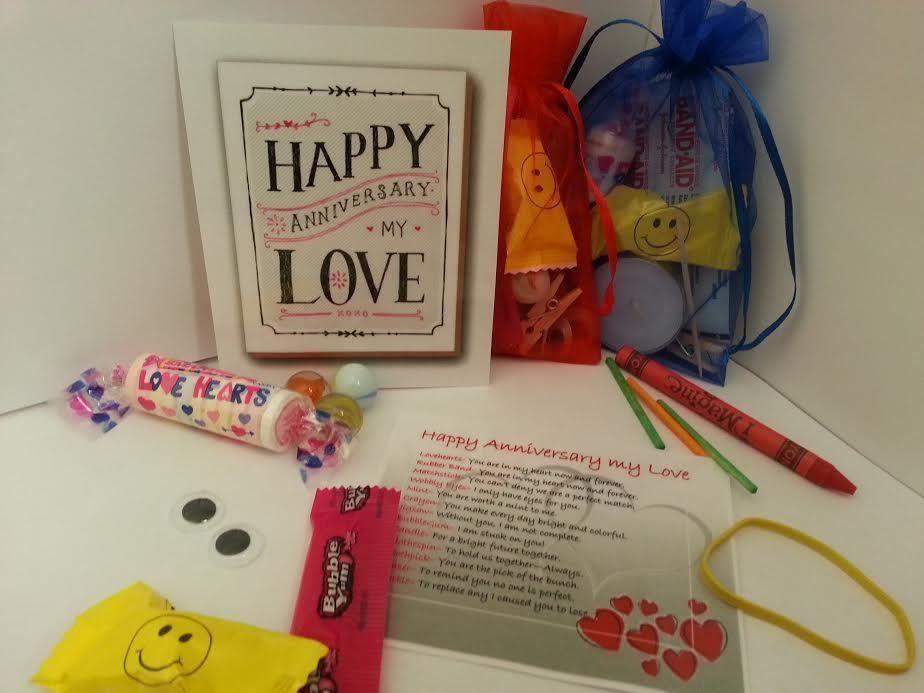 Anniversary gift anniversary keepsake gift and card and survival kit