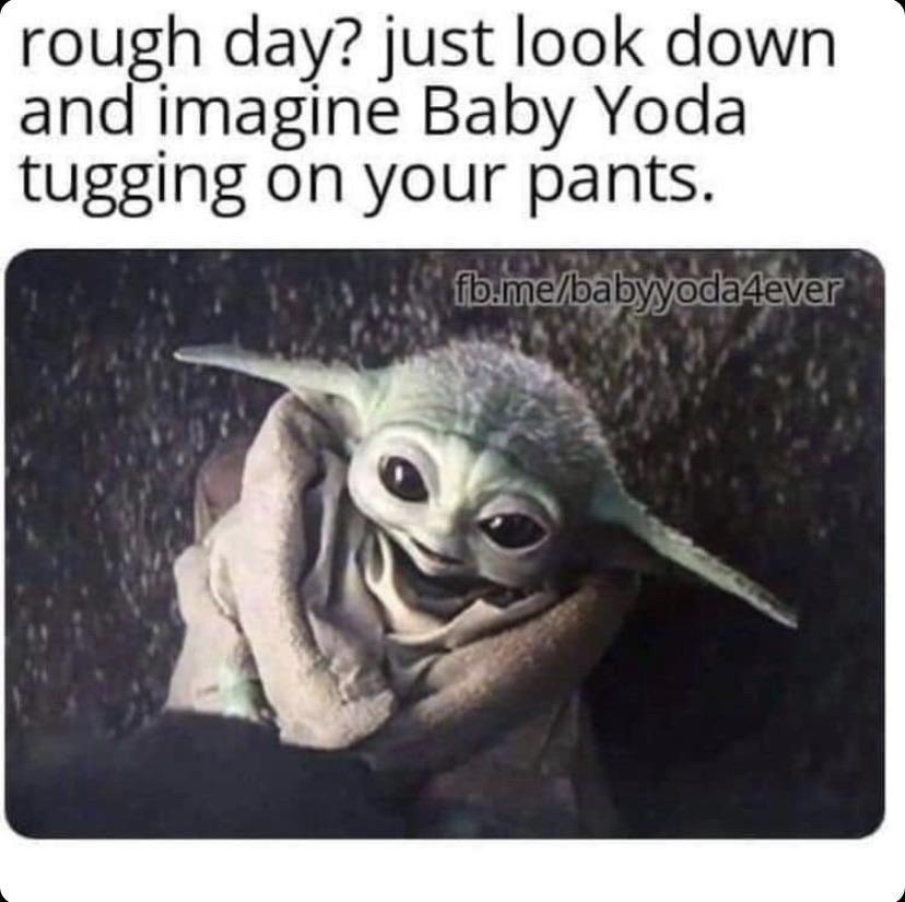 A Wittle Leg Hug Makes Everything Better R Babyyoda Baby Yoda Grogu Yoda Funny Yoda Meme Yoda