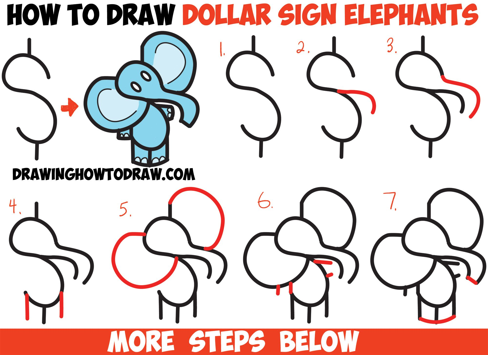Number How  To Draw Cartoon Elephant From The Dollar Sign  Easy Step