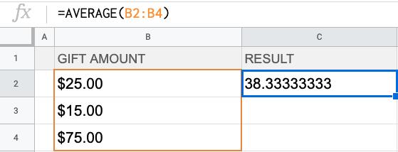 Formula: =AVERAGE (B2:B4)
