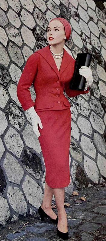 b79b9fbd8e9b 1954 Christian Dior 50s vintage fashion style designer couture red suit  dress jacket skirt model magazine hat purse shoes black color photo print ad