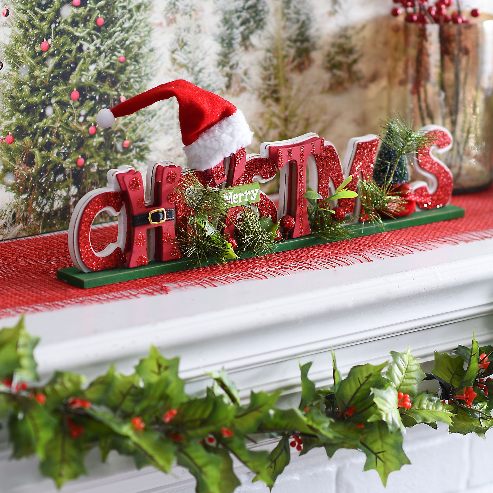 Cutout Merry Christmas Tabletop Sign | Christmas tabletop, Tabletop ...