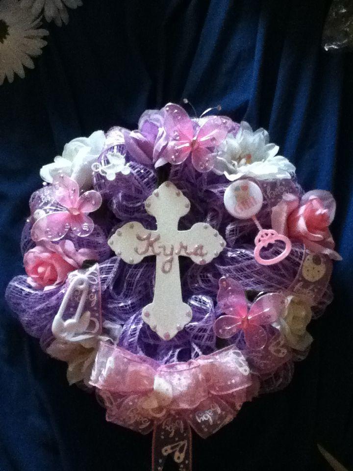 Baby Girl Memorial Grave Mesh Wreath Mesh Wreaths