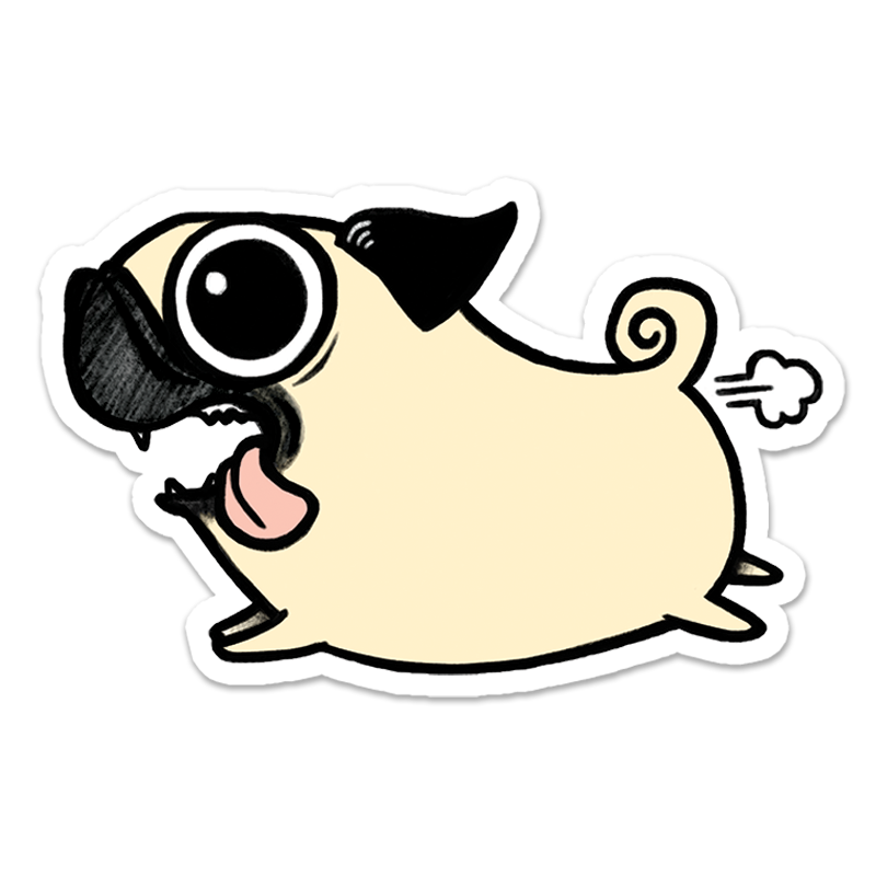 Crazy Pug Sticker Pegatinas Pegatinas Kawaii Y
