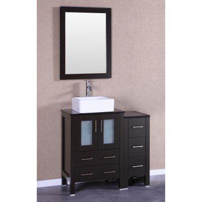 Bosconi Single Bathroom Vanity with Vessel Sink - AB124CBEBG