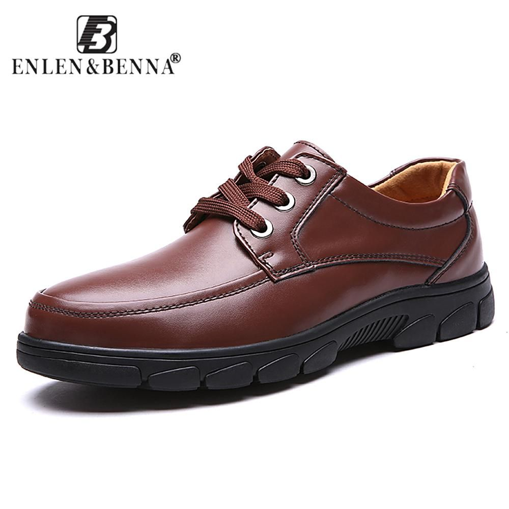 Enlenbenna Dress Men Shoes Lace-Up Business and Comfortable Footware  FullFrain Leather Simple - US $24.15