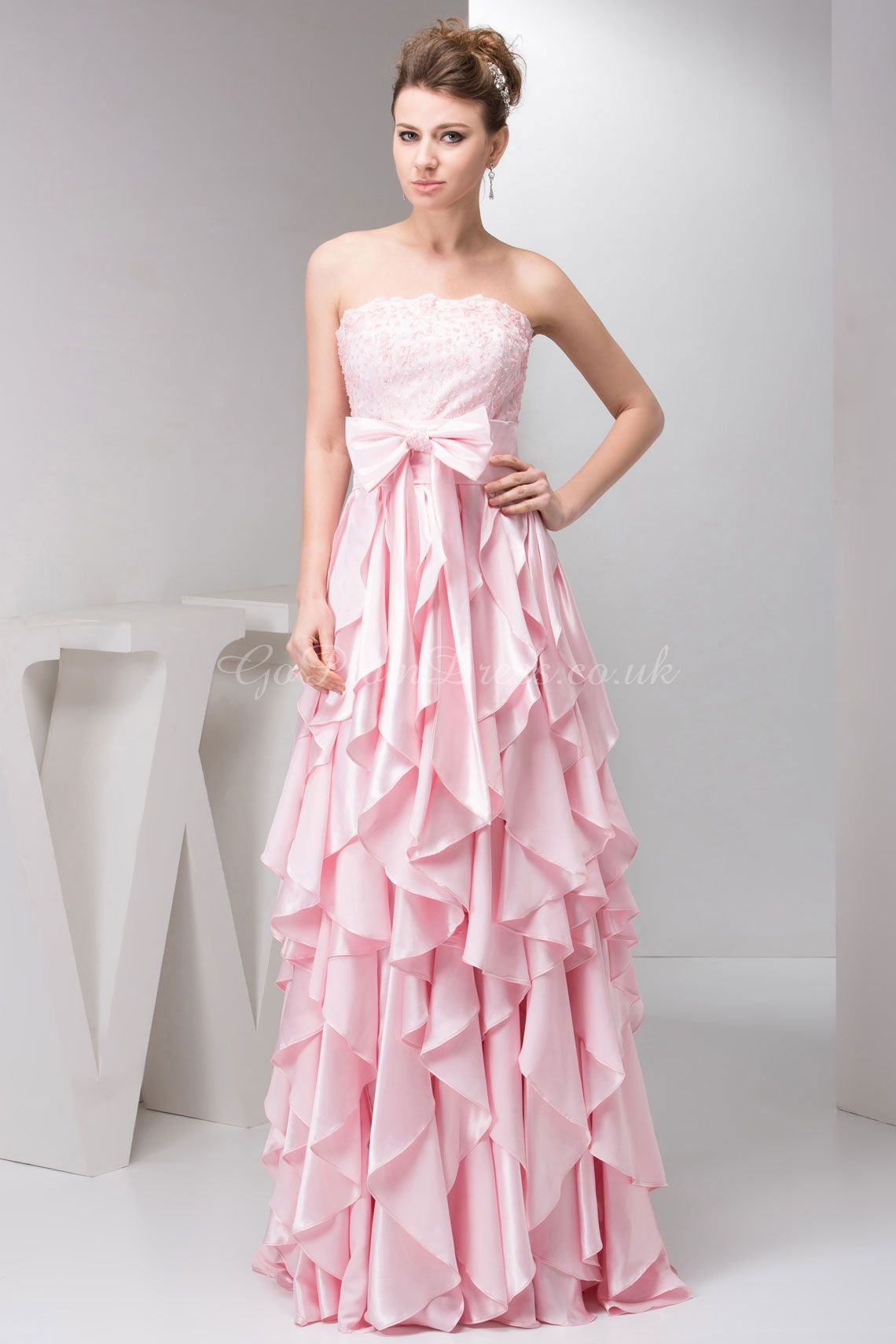 prom dress,prom dresses,prom dress,prom dresses a-line satin strapless natural waist floor-length zipper sleeveless bowknot lace ruffles pink prom dress
