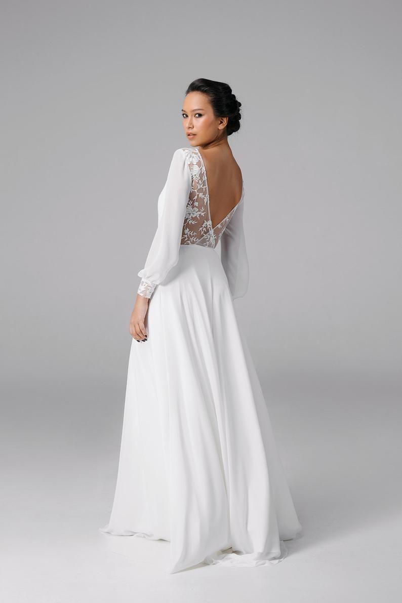 Open Back Wedding Dress Simple Long Sleeve Wedding Dress Etsy Long Sleeve Wedding Dress Simple Sleeve Wedding Dress Etsy Wedding Dress [ 1191 x 794 Pixel ]