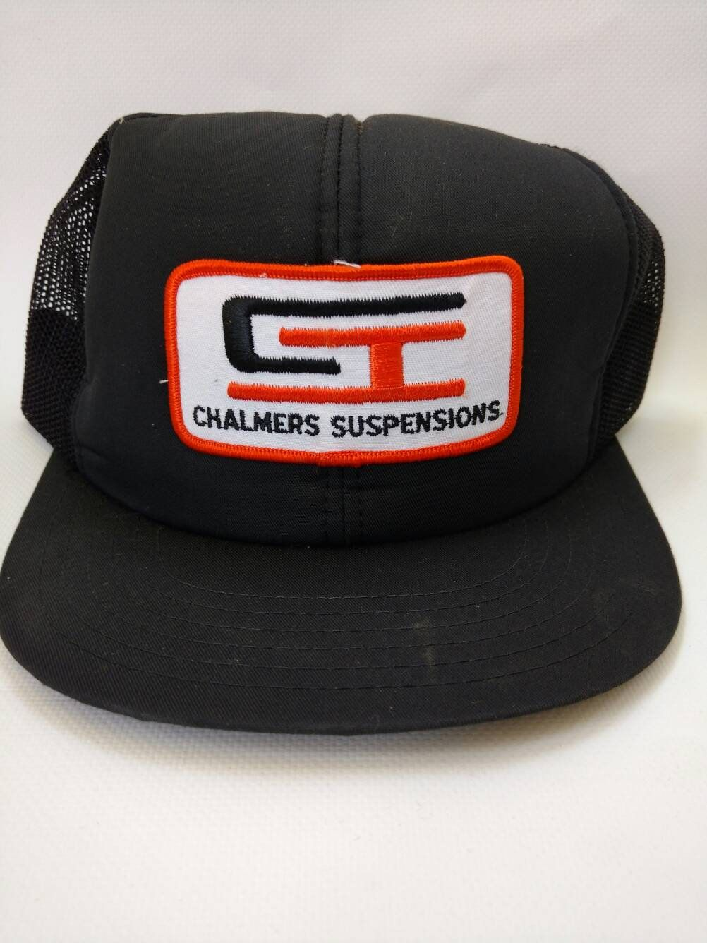 5209826cdcc Vintage Mesh Trucker Hat Chalmers Suspensions 1980s Snapback Cap by  RockabillyPinUps on Etsy