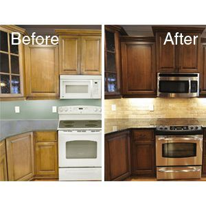 Color Change | Stained kitchen cabinets, Wood kitchen ...