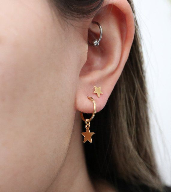 Photo of star charm hoops // sterling silver or 14k gold vermeil . tiny dangly star hoops . celestial jewelry . minimalist style hoop charm earrings