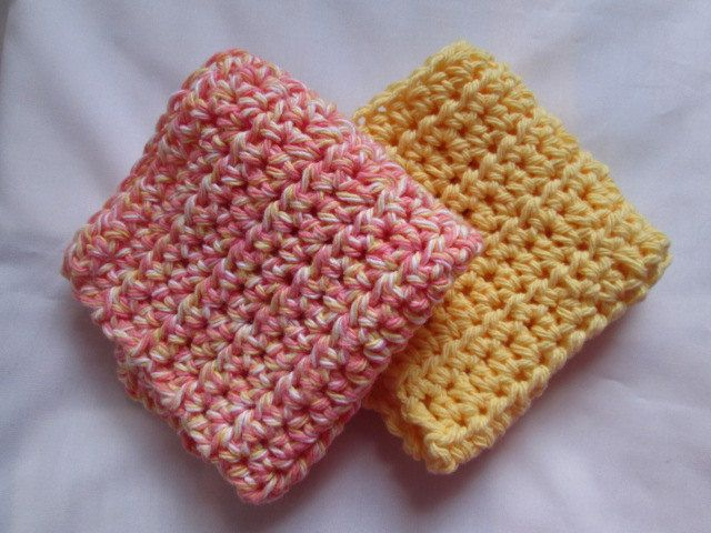 coral orange dish cloth, yellow dish cloth, set of 2, dish rags, cleaning rag, wash cloth, cleaning supply, kitchen towel, crochet cloth by Purplecatzcrochet on Etsy