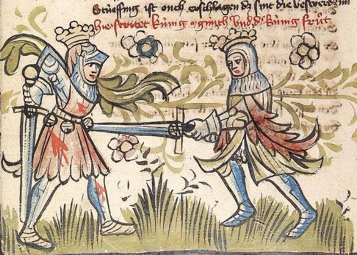 """'Rosengarten zu Worms' ; 'Lucidarius' — Straßburg - """"Werkstatt von 1418"""", 1420 Cod. Pal. germ. 359 Folio 36v"""