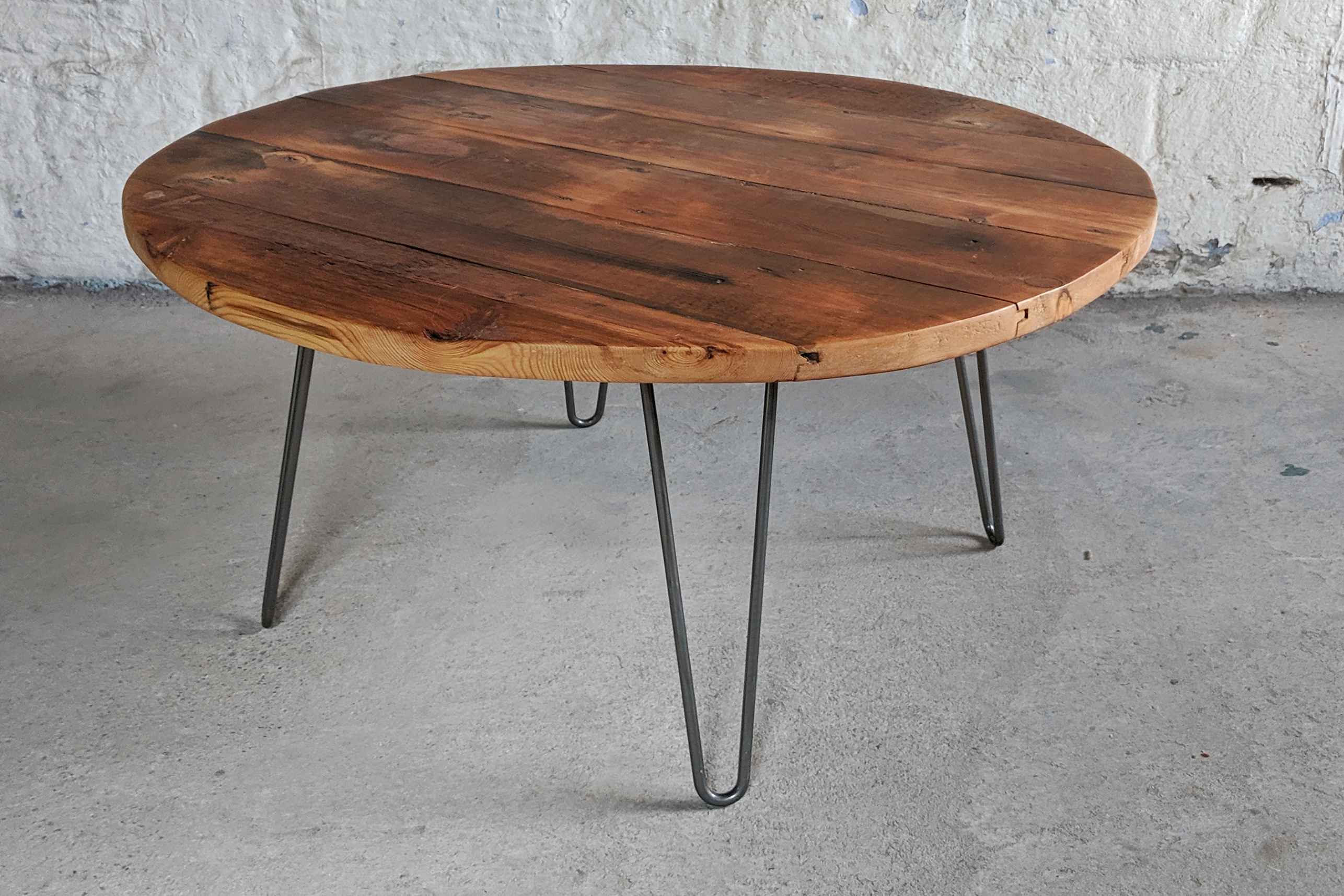 Pitch Pine Floorboard Round Coffee Table On Metal Hairpin Legs
