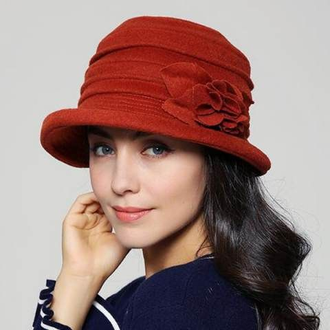 Fashion ruched wool bucket hat with flower for women winter hats