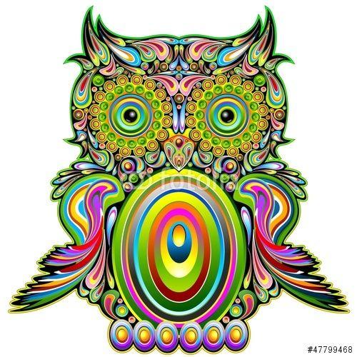 Vector: Owl Psychedelic Pop Art Design-Gufo Psichedelico Decorativo