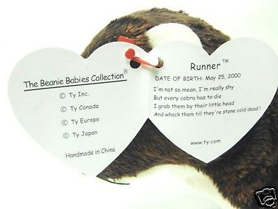 b7815032310 Ty Beanie Baby RARE Tag RECALL 2000 RUNNER Mongoose Ferret MINT w Tags MEAN  Poem -
