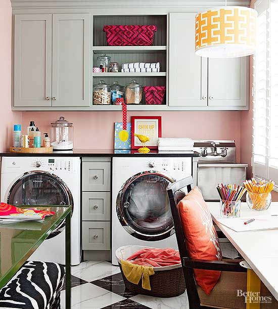 moderne Waschküche kleiner Raum mehr Farbe Wandgestaltung ...