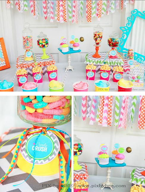 Candy Themed Decoration Ideas Part - 29: Sweet Crush Candy Birthday Party Chevron Via Www.KarasPartyIdeas.com