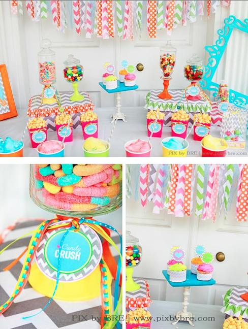 sweet crush candy birthday party chevron via www.KarasPartyIdeas.com