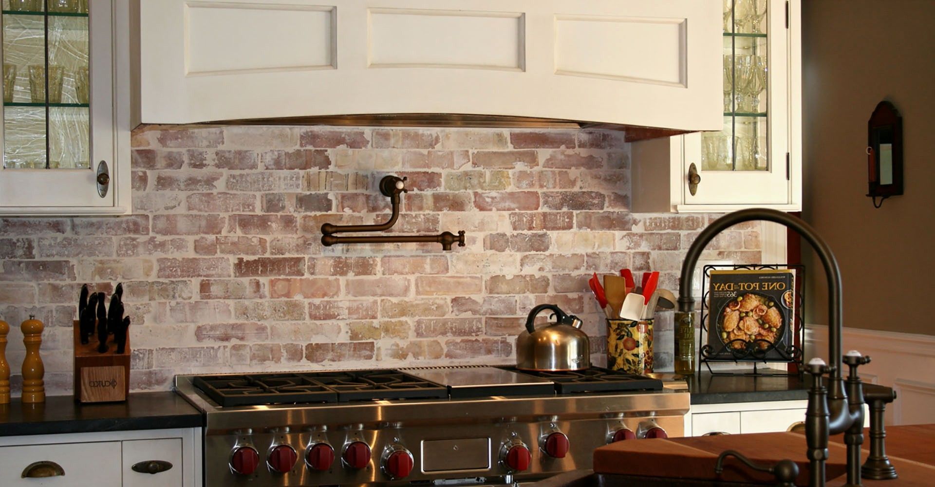 Stacked Stone Kitchen Backsplash Coffee Decoration For Faux Brick Fresh Wall Tiles Veneer Red