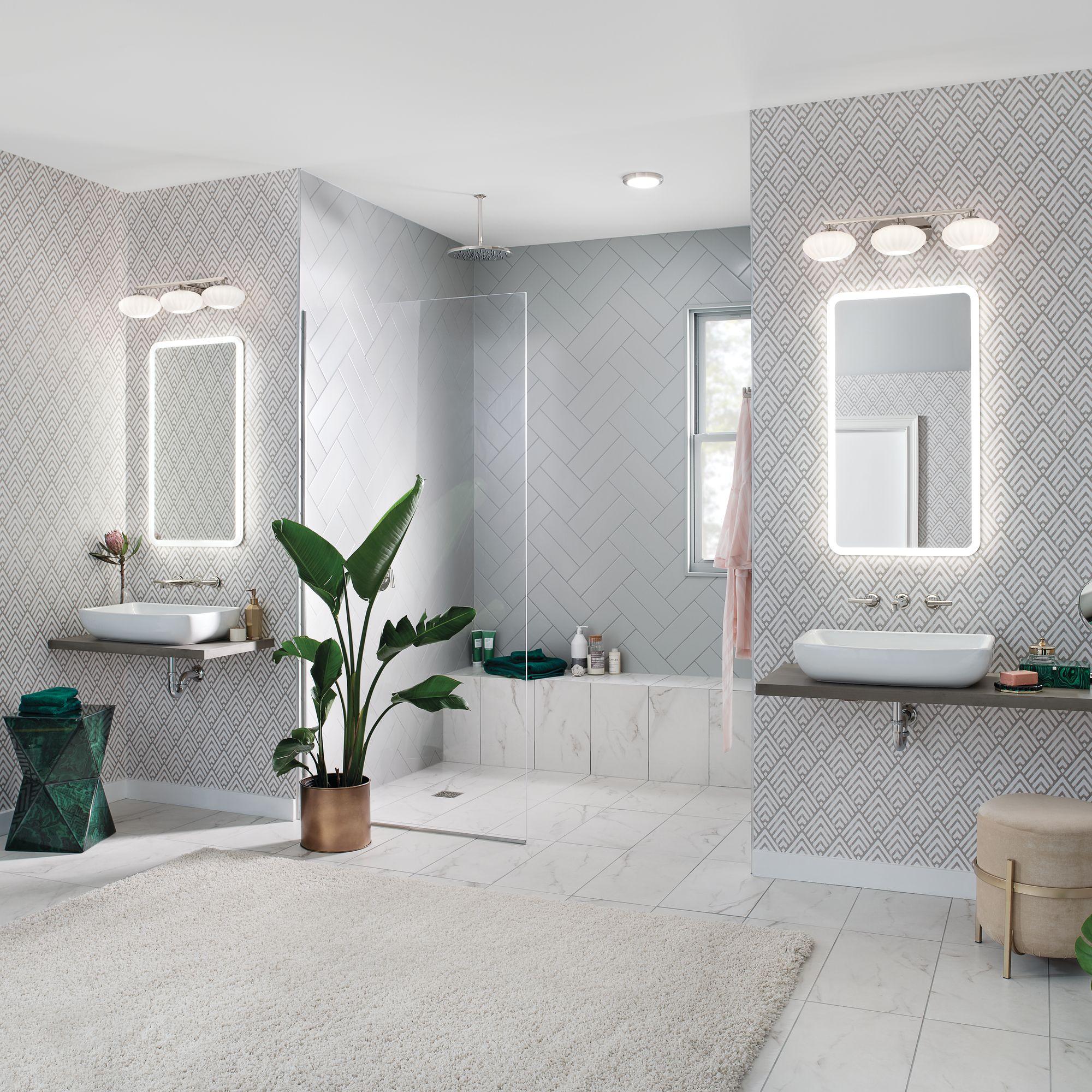 Bathroom Fixture In 2020 Mid Century Modern Design Backlit Mirror Modern Design