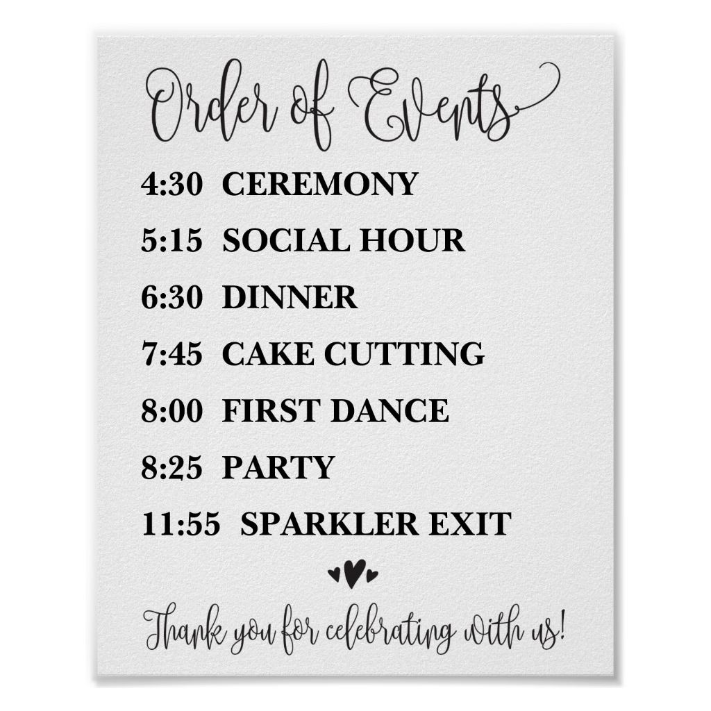 Order of Events Wedding Reception or Ceremony Sign | Zazzle.com