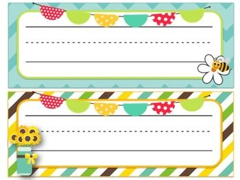 Sunflower & Bee Themed Desk Name Tags!