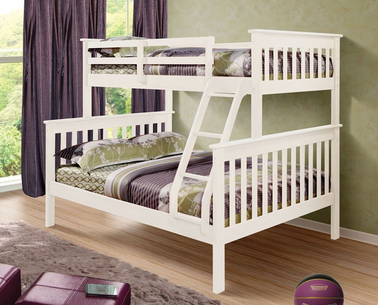BUNK BED KINGDOM Twin over Full Bunk Bed (White), 548