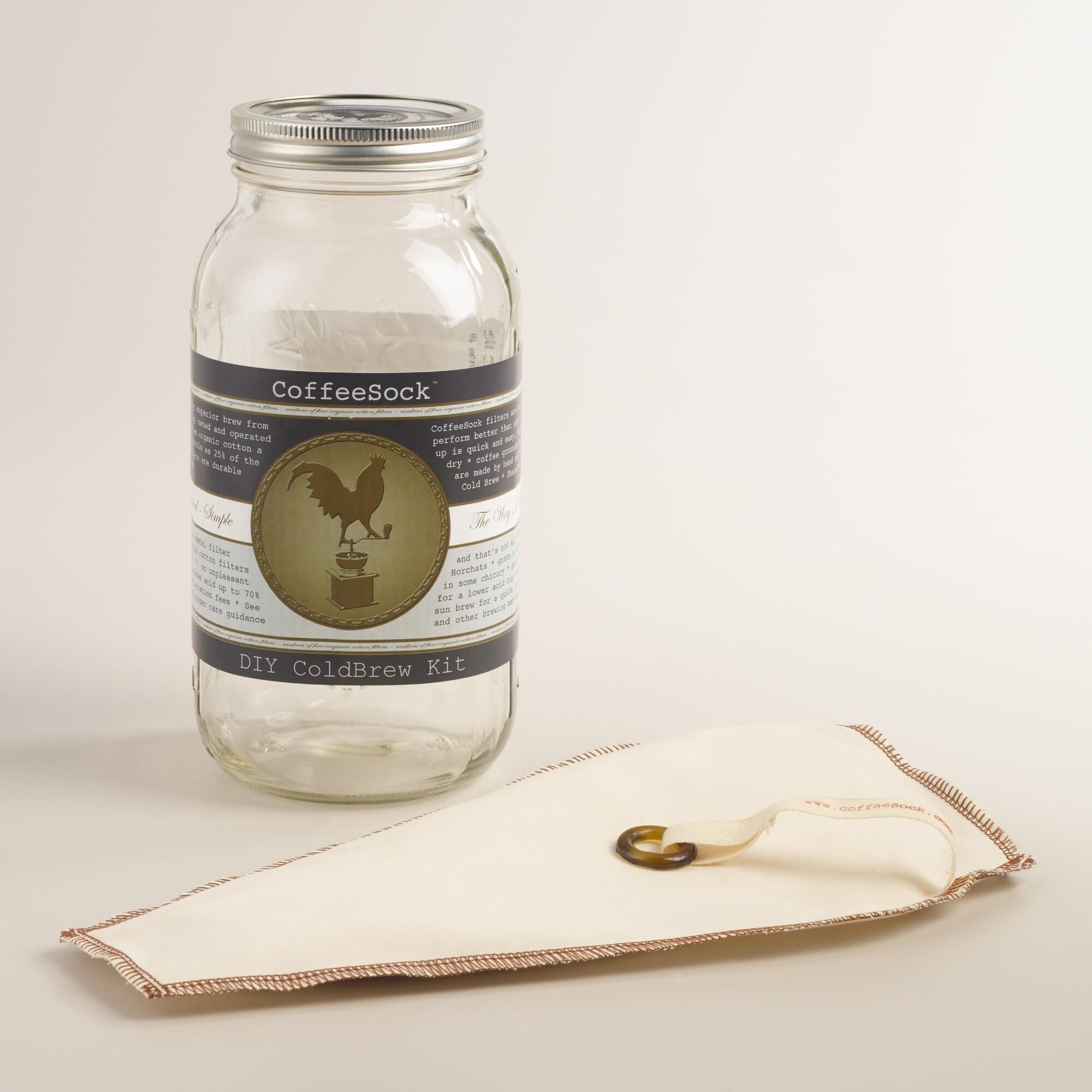Use our CoffeeSock cold brew kit to create coffee concentrate for hot or iced beverages. >> #WorldMarket Kitchen Accessories, Mason Jars