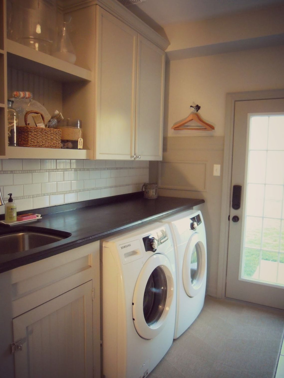 Laundry room sinks simple designing with ikea laundry open shelving connect to wooden cabinet white theme on washing machine marble countertop laundry room