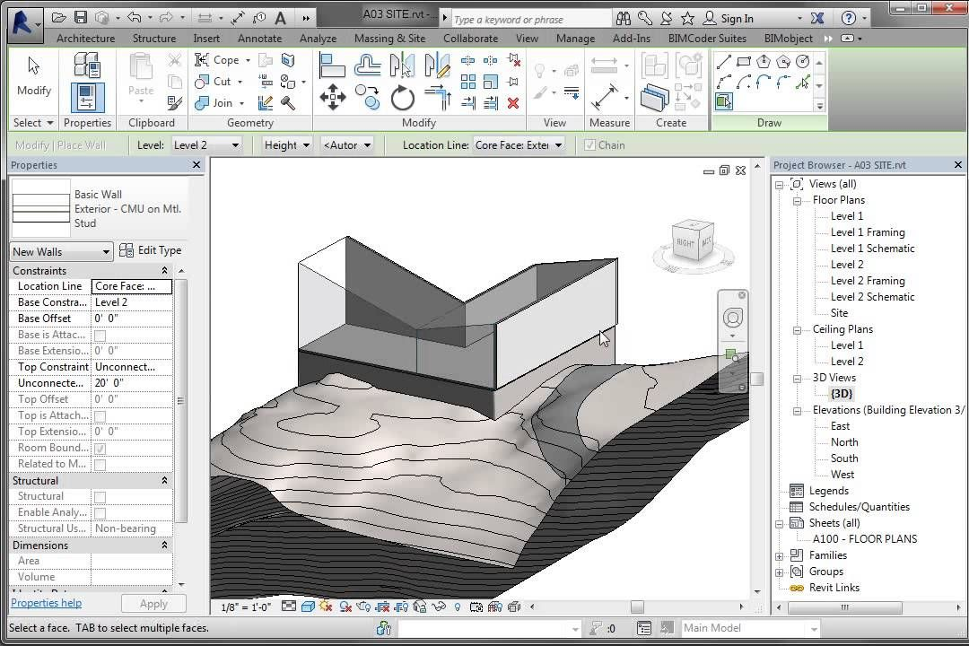 Revit Conceputal Massing 04 Wall Roof By Face Revit Tutorial Autodesk Revit Mass