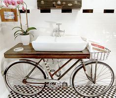 Bike Infused Bathrooms Unique Bathroom Sinks Diy Bathroom Vanity Upcycled Sink