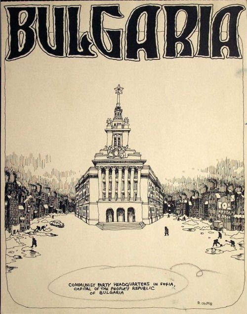 """Robert Crumb // Communist Party Headquarters in Sofia, Capital of the People's Republic of Bulgaria / Original art for Help #25, """"Bulgaria"""" title page (Warren, July 1965)"""