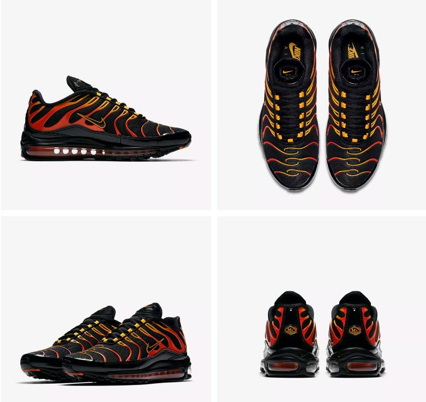 low priced 18b06 be4e3 Nike Air Max 97 Plus Mens Shock Orange Black Shoes ...
