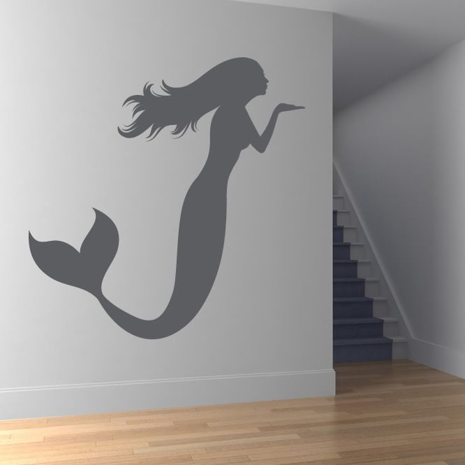 mermaid blowing a kiss bathroom wall stickers wall art decal