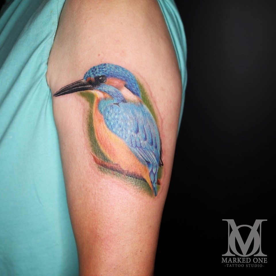Cute realistic colourful Kingfisher tattoo by Katie James