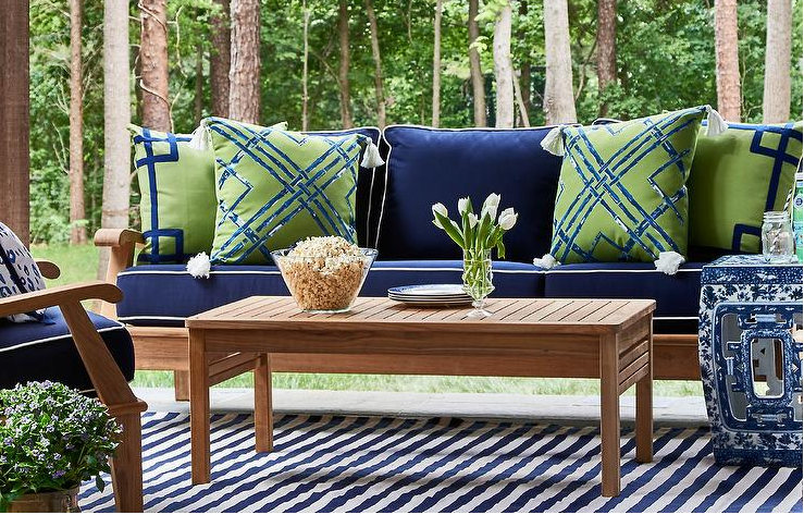 The Blue And White Club Meeting Is On The Enchanted Home Green Outdoor Pillows Blue Patio Decor Blue Patio Furniture