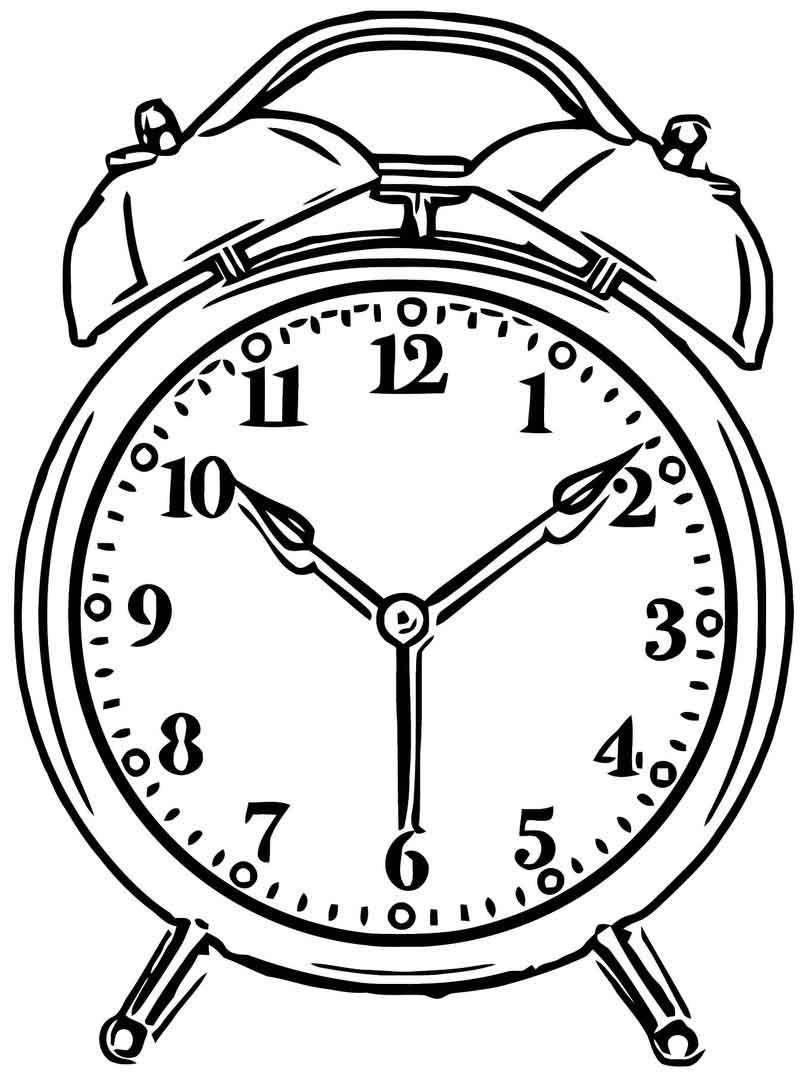 14+ Alarm clock black and white clipart info