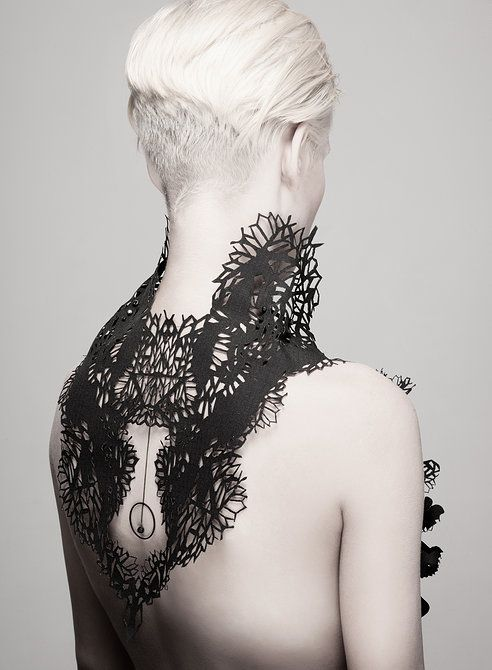 "Kaminer Design - ""Black Sacral""   Made of PVC,fabric, brass and zirconia rhinestones #fashion #elements"