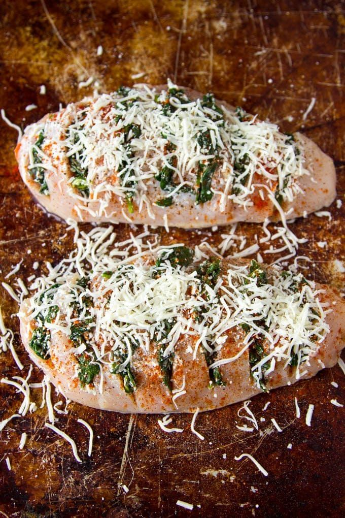Spinach + Goat Cheese Hasselback Chicken | Simple Healthy Kitchen
