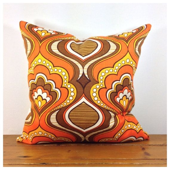Hand Made Cushion Cover// 1970s Vintage Fabric