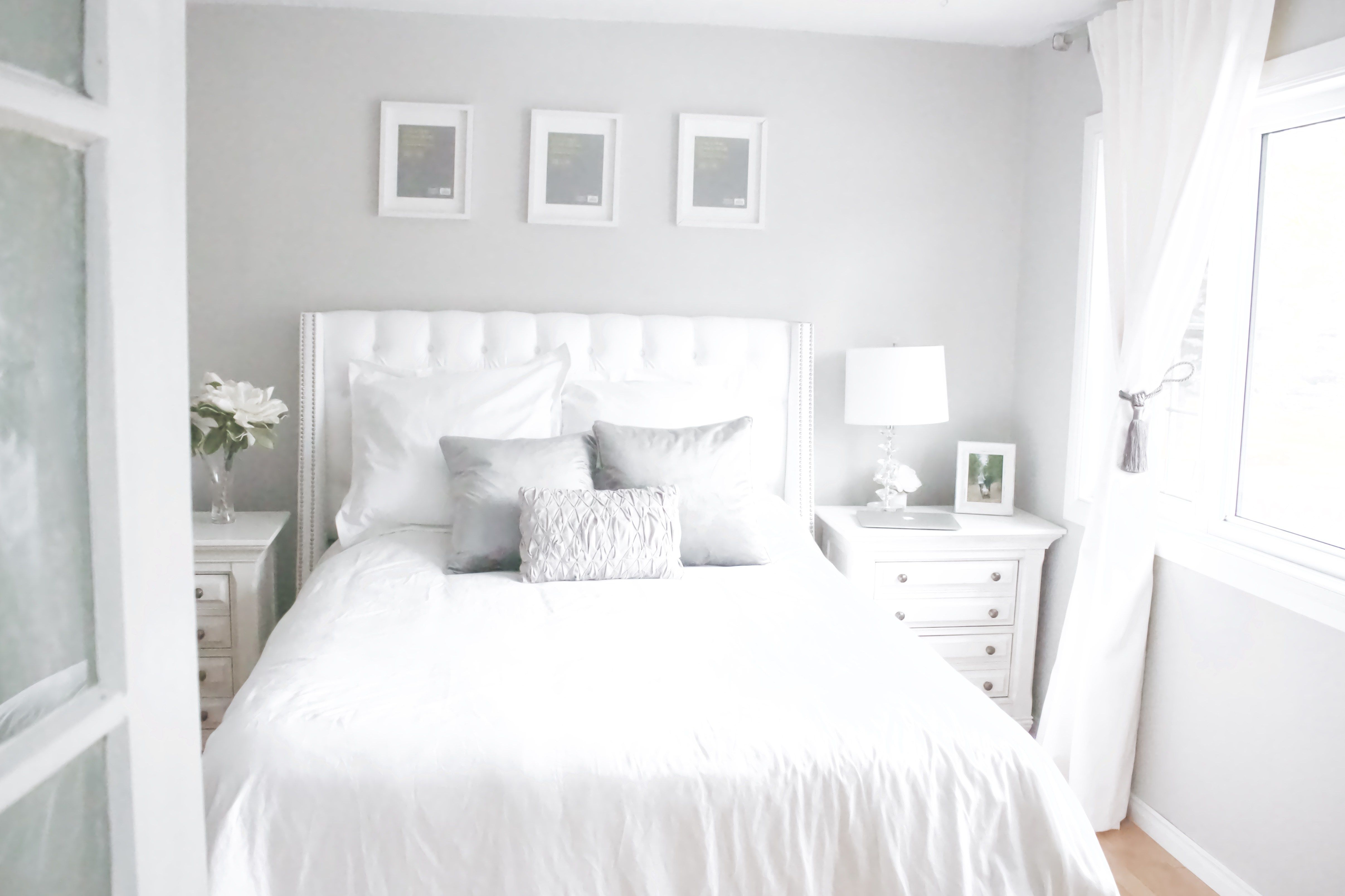 French Country Farmhouse Master Bedroom Update White