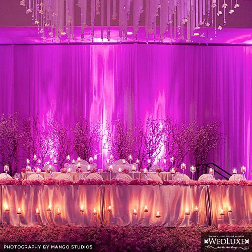 Wedding Reception Head Table Ideas: Head Table Uplighting