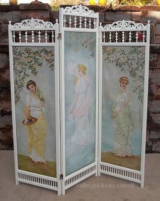 Omg Shabby French Antique Chic Victorian Oil Painting Dressing