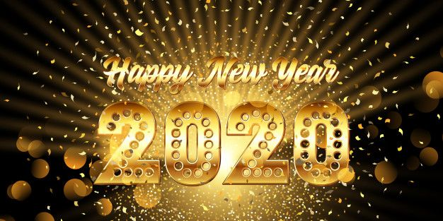 Download Happy New Year Banner With Gold Metallic Text With Confetti for free (With images)