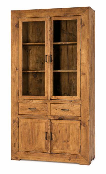 Vitrina rústica grande, 2 puertas de cristal, 2 puertas de madera ...