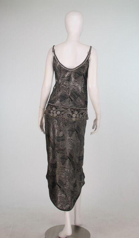 1920s silver and black metallic brocade & metallic lace dress