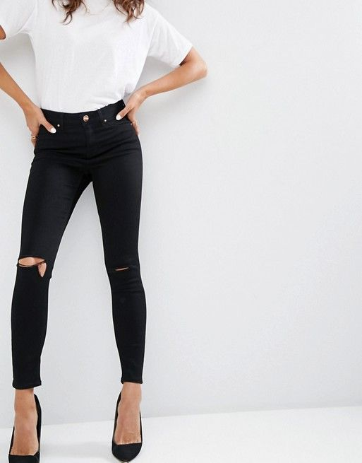 e5dbeed3fe ASOS   ASOS Ridley Skinny Jeans In Clean Black With Rips Super Skinny  Ripped Jeans,
